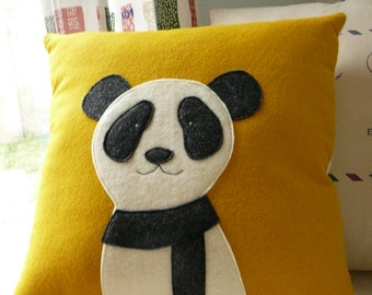 Panda Pillow - Mustard Yellow - Decorative Pillow Cover - Holiday Pillow
