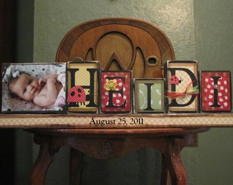 Personalized Baby Gift, Baby Girl Name Sign, Customized Name Word Blocks with Picture, Baby Shower Gift,  girls name sign customized