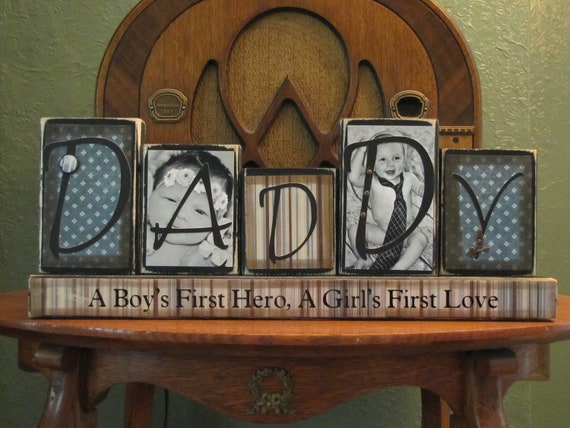 Daddy Photo Block,  Customized Daddy Sign Word Blocks with Pictures, Dad Sign,  Father's Day Gift, Daddy Photo  Gift,  Dad's Birthday Gift