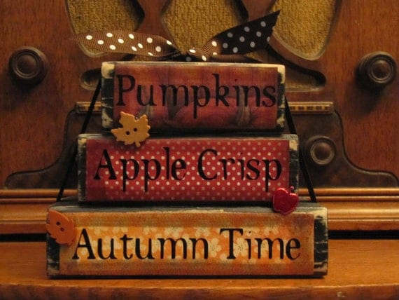 "Pumpkins, Apple Crisp, Autumn Time Stacker Fall Sign Decor, 4.5"" tall x 5.5"" wide"