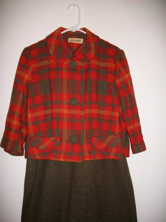 Vintage 50s plaid wool autumn suit by Marie Phillips - FREE shipping worldwide