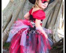 BUCCANEER BEAUTY Pirate Inspired Tutu Dress with Corset Belt, Eyepatch and Hat - Large 4-6T