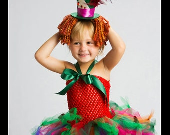 MAD ABOUT HER Alice in Wonderland Mad Hatter Inspired Tutu Dress with Headpiece - Large 4-6t