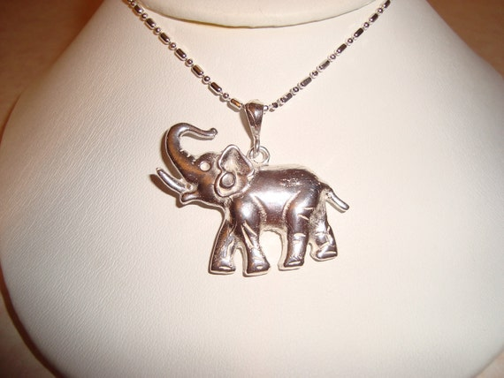 Unisex NECKLACE: Sterling Silver Elephant  , Hand Cast, Handmade, Dad Gift Necklace, Birthday Necklace, Christmas, Male Gift Necklace