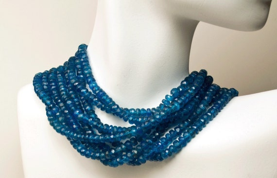 Neon Apatite Rondelles, Rondels, Roundels, Deep Blue, Faceted  -  8-inch Strand -   Graduated 3 to 4mm - 8-Inch Strand