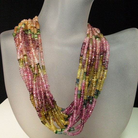 Tourmaline Rondelles, Rondels, Roundels, Watermelon, Petro, Pink Green, Yellow, Gold  - 3 to 3.5 mm  -  1/2 Strand