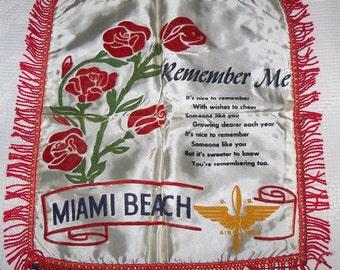 Vintage 1940s WWII era Satin & Velveteen Souvenir US Air Force Miami Beach Pillow Case Cover with Fringe Unused