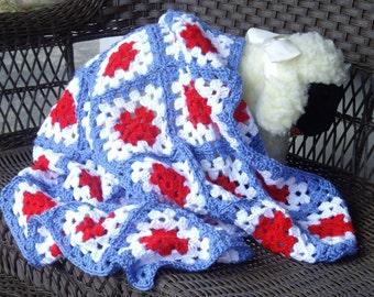Americana Crocheted Baby Blanket