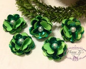 NEW: 5 pcs Green Christmas Holiday Teeny Tiny Small SHIMMERY Satin Flowers with pearl center, applique hair bow
