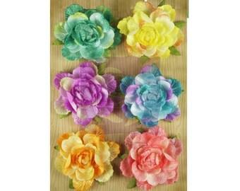 Symphony Rainbow Velvet Fabric Flowers.