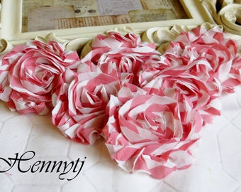 Set of 6 Shabby  Frayed Vintage look Cotton Rosette Flowers - Pink White Stripe
