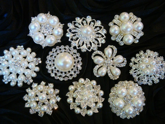 RESERVED for Aliya: 10 pcs ALL Mixed Rhinestone Pearl Buttons - wedding / hair / dress / garment accessories