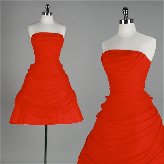 Vintage 1950s Dress . Red Crepe Chiffon . Strapless . Emma Domb . XS/S . 1610