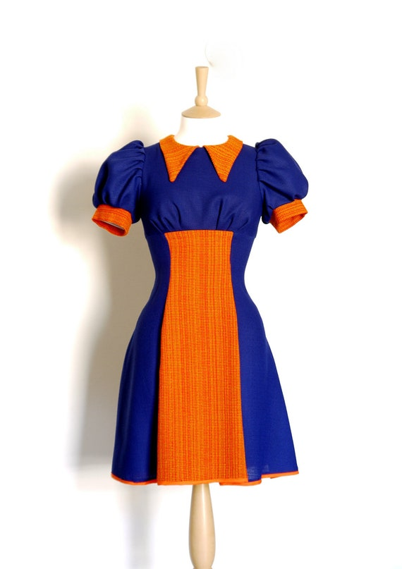Autumnal Mini Dress- Orange & Blue Colour Block 70s style Panelled High Waisted Tea Dress- by Dig For Victory