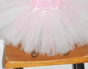 White, Pink and Light Pink Tutu sizes Newborn 3 mo 6 mo 9 mo 12 mo 18 mo 24 mo 2t 3t 4t 5 6 8 10 12 14