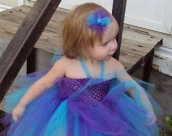 Purple and Turquoise Tutu Dress with matching hair accessory,tutu dress,purple and blue tutu dress,birthday tutu,flower girl tutu,girls tutu