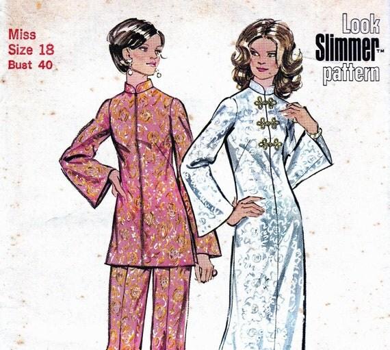 70s Vintage Sewing Pattern Dress Tunic Pants Simplicity 5375 Size 18 Bust 40 UNCUT FF
