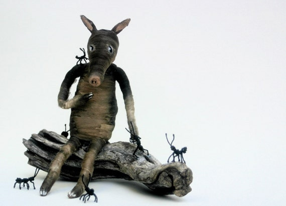 Ooak Spun Cotton Loving Aardvark and Ants