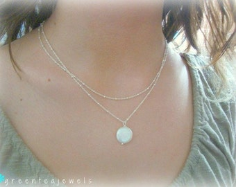 marietta necklace - freshwater pearl -  gorgeous sterling silver beaded chain - simple bridal or everyday jewelry