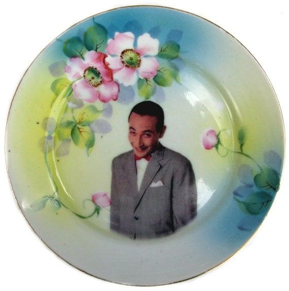 Pee-wee Herman Portrait - Altered Vintage Plate