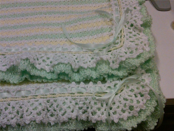 Yellow and Green Crocheted Baby Blanket Afghan - Lacey Ruffles - Striped