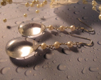 Pearl Crystal Drop Earrings, pearl earrings, crystal quartz earrings, silver earrings, dangle earrings,pearl jewelry,crystal earrings
