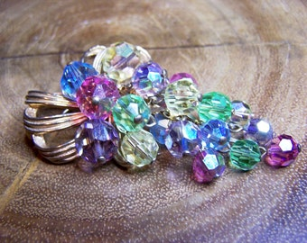 Vintage Pastel Colored Austrian Crystal Grape Cluster Brooch Unsigned