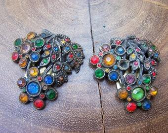 Vintage Pot Metal Multi Color Rhinestone Fur Clips Signed L/N