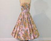 50s Dress, 1950s Pink Floral Strapless Formal Cocktail Garden Wedding Party Dress, Full Circle Skirt, Sequin Flowers, Bombshell