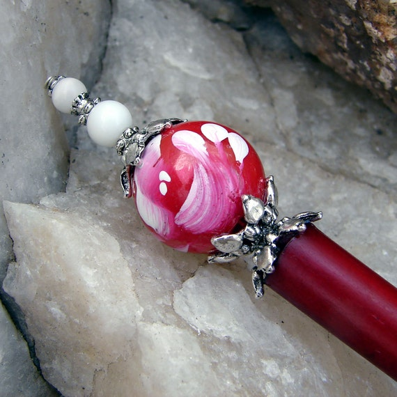 Brush Stroke Rose Hair Stick with White Cats Eye on Rose Red Bone - Madeline