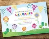 Rainbow Flag Bunting Birthday or Baby Shower Invitation, Digital or Printed