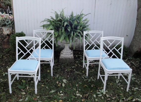 Vintage aluminum faux bamboo set of four chairs and table base