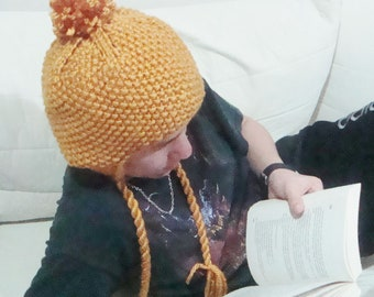 Hand Knit Hat with Ear flaps in Mustard Yellow, Gold Hat for mens or womens hat