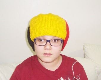 "Belgium Flag Hat Mens Hat 24"" hat beanie beret men hand knit red black yellow"