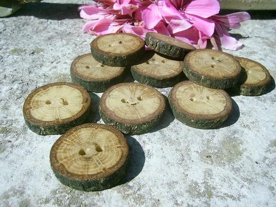 "Wood Buttons - 10 OAK Tree Branch Buttons, 7/8"" in diameter"