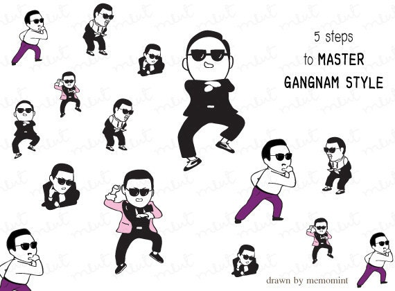 50% OFF SALE 5 Gangnam Style Action - Digital Clip art / Printable Clipart - Png and Jpg file for Personal use only