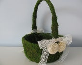 SALE  DIY Flower Girl Basket, Rustic Wedding, Rustic Program Basket, Moss Flower Girl Basket, Moss Wedding, Woodland Wedding Decor