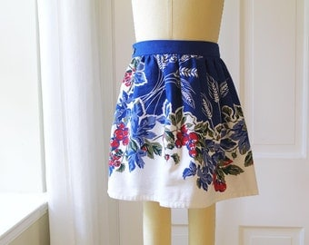 Girls M (5/6) VintageTablecloth Skirt- Recycled Indigo blue and Red Tablecloth Floral-  Kids Ecofriendly Fashion