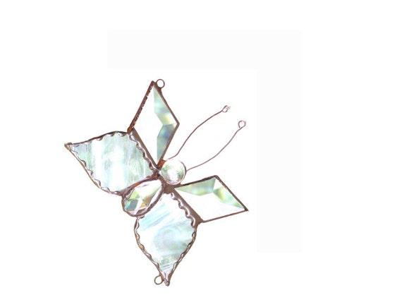 Butterfly Stained Glass Suncatcher Clear White Handmade OOAK