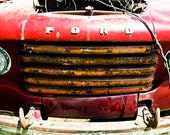 Vintage ford Photography fire truck yellow red rust guy boy auto body shop americana - Making my rounds all over town - fine art photograph