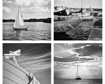 Set of 4 Nautical Boat images 12x12 fine art photos large wall art decor seaside ocean water lake sailing high seas stern gulf sweden