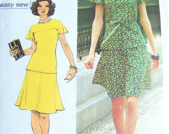 Vintage 1973 Simplicity Misses Jiffy Knit Two Piece Short Dress Pattern Size 8