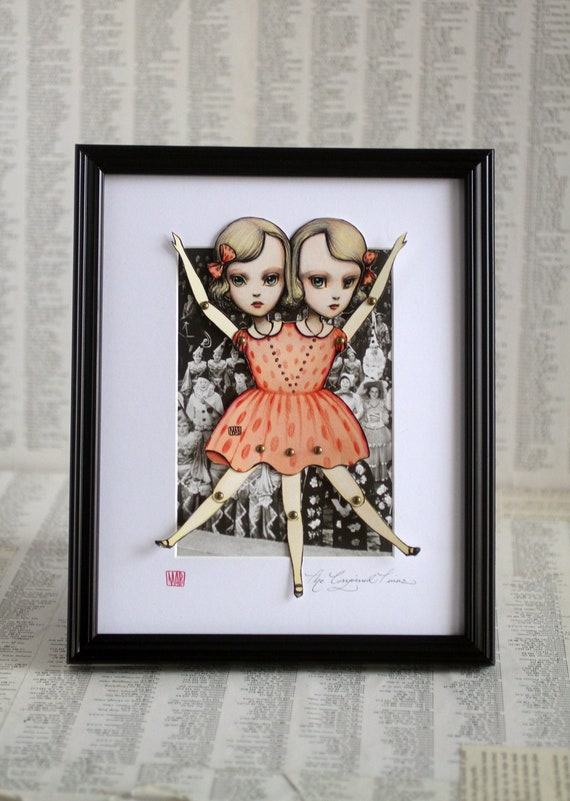 You Are So Special - The Conjoined Twins - fully assembled articulated paper doll - Framed -  by Mab Graves