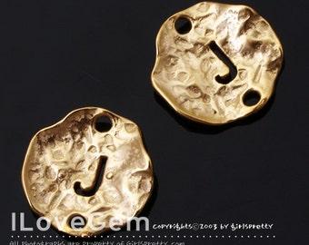NP-1310 Matt Gold Plated, 12mm Disc, Pendant, Alphabet, J, 4pcs