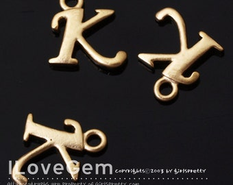 NP-1312 Matt Gold Plated, Initial Pendant, Alphabet Letters, K, 2pcs /Personalized alphabet initial necklace, anniversary jewelry