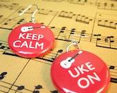 "Ukulele Earrings Keep Calm Uke On  1 inch round You choose colour 1"" 25mm"