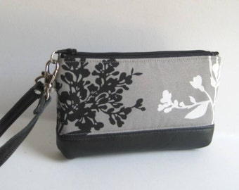 Wristlet in Gray with Black and White Blossoms and Leather Trim