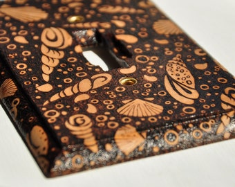 Woodburned light switch plate cover - seashell design