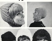 Crocheted Hats Pattern Leaflet- 5 styles Scheepjes-wool, Astronaut and Gogo hat, men and women