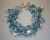 Blue Bird Silver Hand-Crafted Rhinestone Turquoise Chip Charm Bracelet
